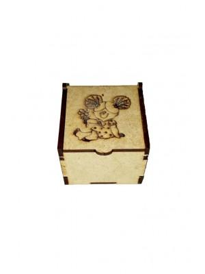 Caixa encaixe - Menina flor 6x6x4,5 - MDF 3 MM