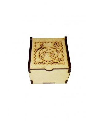 Caixa encaixe - Menino 6x6x4,5 - MDF 3 MM