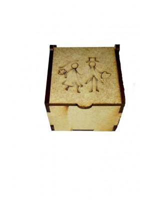 Caixa encaixe - Noivos 6x6x4.5 - MDF 3 MM