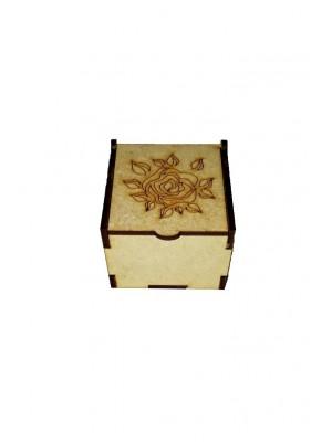 Caixa encaixe - Rosa 6x6x4,5 - MDF 3 MM
