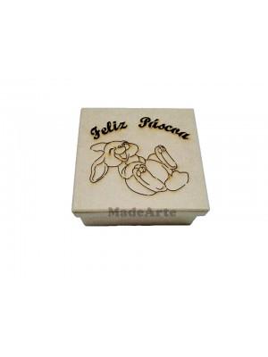 Caixa coelhinho da pascoa sorrindo - 16x16x6 - MDF 3 MM