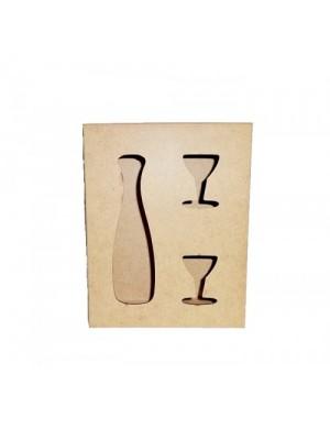 Caixa vinho e taça vazada - 23x18x7 - MDF 3 MM