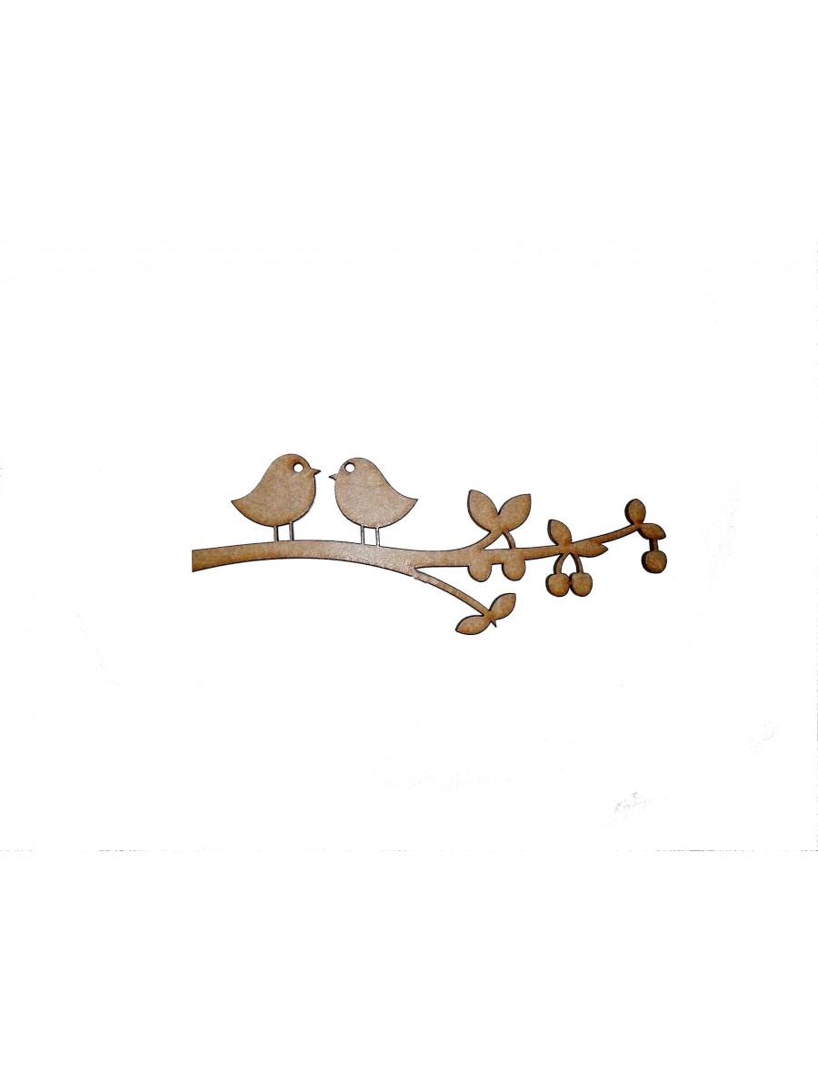 2 pássaros galho com frutos - 14x5.5