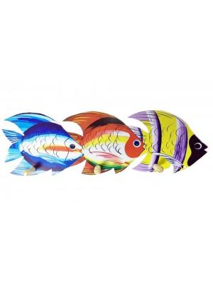 Cabide peixes 3 pinos - Adesivado - 51.5x16