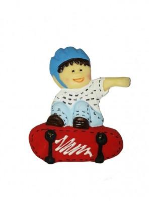 Menino skate 5.3x7 - Kit 2 peças biscuit
