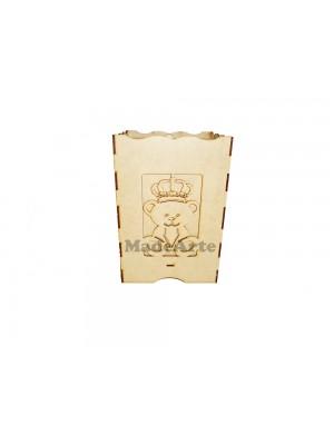 Lixeira urso coroa 3 D - 17X16X25