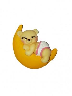 Urso Lua rosa 4x5 - Kit 2 peças biscuit