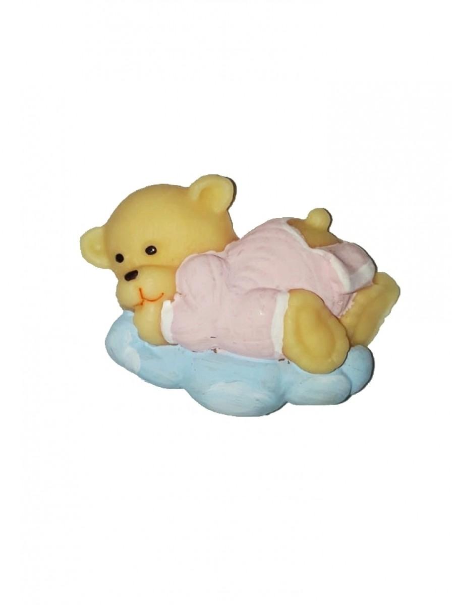 Ursa nuvem rosa 5x4 - Kit 2 peças biscuit