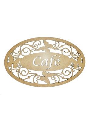 Placa oval borboleta - Café - 31x19
