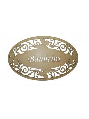Placa oval borboleta - Banheiro - 31x19