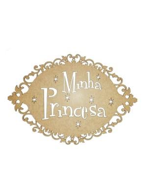 Placa oval arabesco - Minha Princesa - 33x23