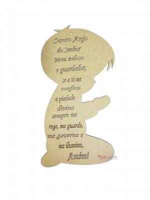 Menino Oração Santo Anjo - 10,5x20 cm